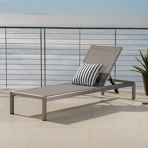 Double Outdoor Aluminum Lounge - Crested Bay Patio Furniture ~ Outdoor Aluminum Adjustable Chaise Lounge Chair (Grey)
