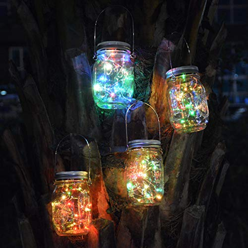Homeleo 5-Pack Color Changing Solar Mason Jar Lid Insert with Hangers, Multicolored Solar Glass Firefly Fairy Lights for Christmas Outdoor Decoration (Jars NOT Included) (Mason Jar Lids Color)