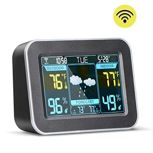 HIRALIY Smart WiFi Weather Station Backlit Color LCD Digital Wireless Forecast Station Indoor Outdoor with Temperature & Humidity, Alarm Clock (Black)