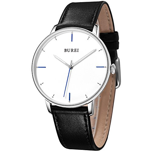 BUREI Men Women Ultra Slim Minimalist Quartz Watches with Big Dial Date Stainless Steel/Leather Band (White-Leather Band)