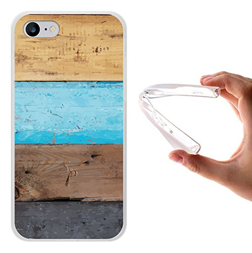 iPhone 8 Hülle, WoowCase Handyhülle Silikon für [ iPhone 8 ] Holzwand Handytasche Handy Cover Case Schutzhülle Flexible TPU - Transparent