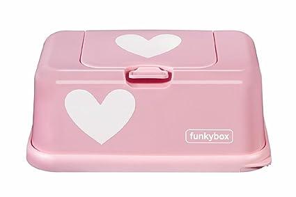 funkybox – Caja para toallitas decorado con corazones, color rosa