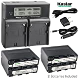 Kastar LCD Dual Fast Charger & 2 x Battery for Sony NP-F970 NP-F960 NP-F950 Sony DCR-VX2100 DSR-PD150 DSR-PD170 FDR-AX1 HDR-AX2000 HDR-FX1 HDR-FX7 HDR-FX1000 HVL-LBPB HVR-HD1000U HVR-V1U HVR-Z1P