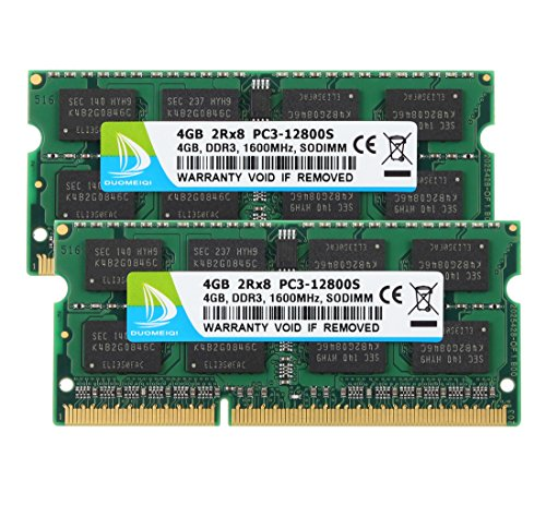 DUOMEIQI 8GB Kit (2 X 4GB) 2RX8 PC3-12800 PC3-12800S DDR3 1600MHz SODIMM CL11 204 Pin 1.5v Non ECC Unbuffered Notebook Memory Laptop RAM Modules Compatible with Intle AMD and Mac ()