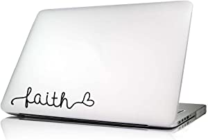 Faith Heart Laptop Decal Vinyl MacBook Skin Sticker Saying Lettering Religious Art Die-Cut (no Background Color)