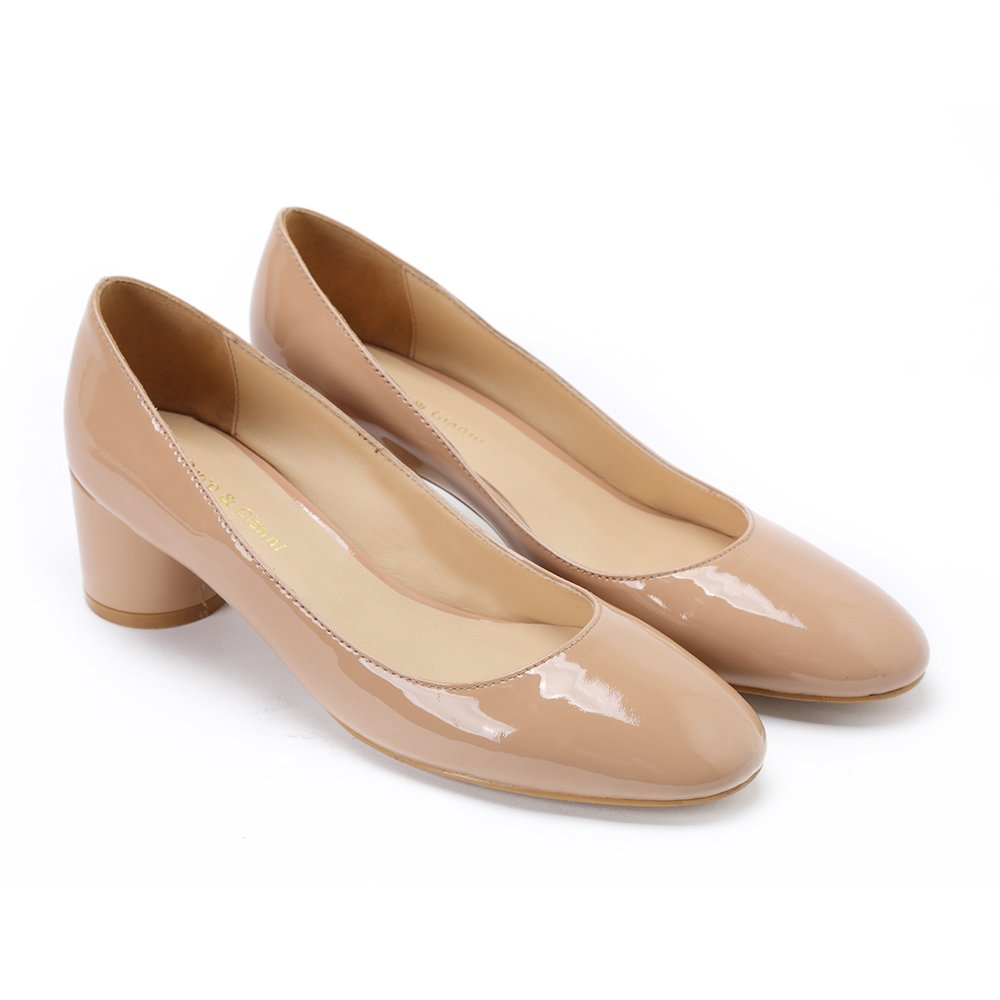 Damen Schuhe Pumps mit Leder Blockabsatz Frauen Leder mit Elegant Formel Schwarz Office schuhe Hohe Absatz Rund Slip On 002ae0