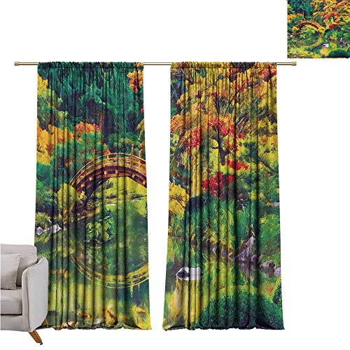 Country Kids Room Curtains Fairy Image of a Japanese Garden with an Old Ancient Bridge The Lake Nature Print Suitable for Bedroom Living Room Study, etc.W120 x L84 Green Orange