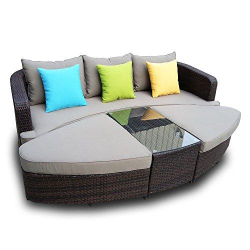 Naples Deep Seating 4 piece Modular Sofa Set in Black Wicker with Light Grey Cushions