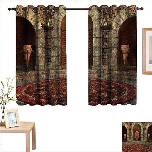 - Gothic Waterproof Window Curtain Throne of King in Vintage Style Palace Chandelier Medieval Architecture Theme 63