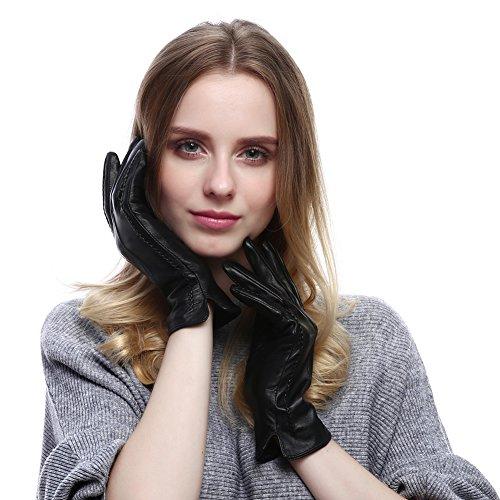 Child Short Black Gloves (Vemolla Girl's Fashion Autumn Winter Short Warm Real Leather Lambskin Gloves Black S)