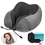 Travel Pillow 100% Pure Memory Foam Neck Pillow, Airplane Travel Set with Luxury