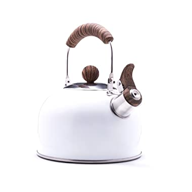 Rockurwok Stainless steel whistling stove top tea kettle, wooden bakelite handle, ceramic white coating, 2.3L