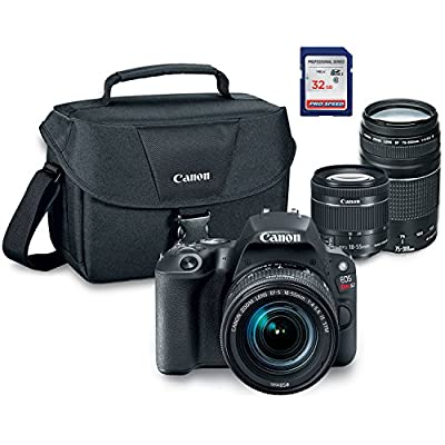Canon EOS Rebel SL2 Digital SLR Camera Kit with EF-S 18-55mm STM + EF 75-300mm III + ES100 Case + 32GB Class 10 SD Card - International Version