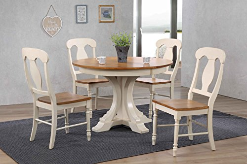 "Iconic Furniture 5 Piece Deco Napoleon Back Dining Set, Antique Caramel Biscotti, 45"" x 45"" x 63"""