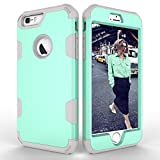 Folice iPhone 6S Plus Case, Hybrid Heavy Duty Shockproof Full-Body Protective Case with Three Layer [Hard PC Back+ Soft Silicone+PC Cover] Impact Protection for Apple iPhone 6/6S Plus (Aqua+Grey)