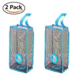 Everyfit 2Pcs Plastic Bag Holder,Hanging Storage Mesh Garbage Dispensers Folding Trash bags Holder Organizer Recycling Shopping Pocket Hanging Containers for Kitchen Bathroom Office