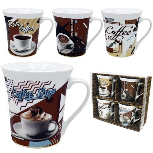 Coffee Mug Set 4 Mug - 12 Ounce Porcelain Mug 4 Porcelain Mugs Coffee Collage Words Unique Coffee Mugs and Tea Cups Gift Boxed A Great Marriage or Friends Gift Set