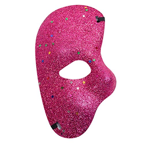 Lanhui_Masquerade Lace Mask Catwoman Halloween Cutout Prom Party Mask Glamorous Eye (Hot Pink)]()