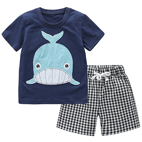 Fiream Baby Boys Cotton Sets Shortsleeve Summer Clothing Shark t-Shirts and Shorts 2 Pieces Sets(18006,3-4YRS) -
