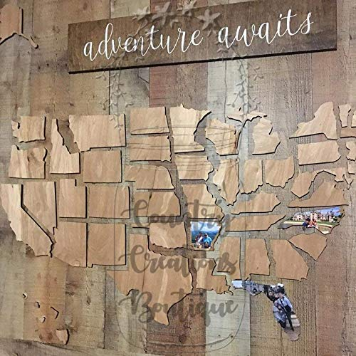 U.S. Map Wooden Cut Out For You To Make Memories of Your Travels On, United States Wooden Map (Wall Wooden Map Art States United)