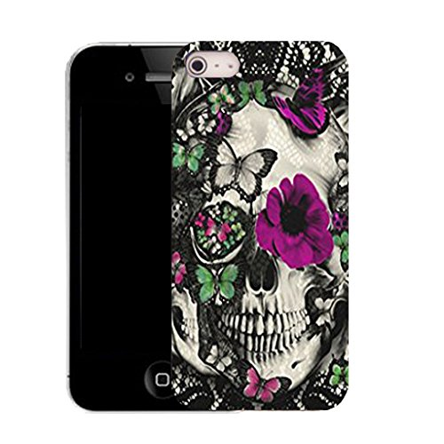 Mobile Case Mate IPhone 4s clip on Silicone Coque couverture case cover Pare-chocs + STYLET - purple floral skull pattern (SILICON)
