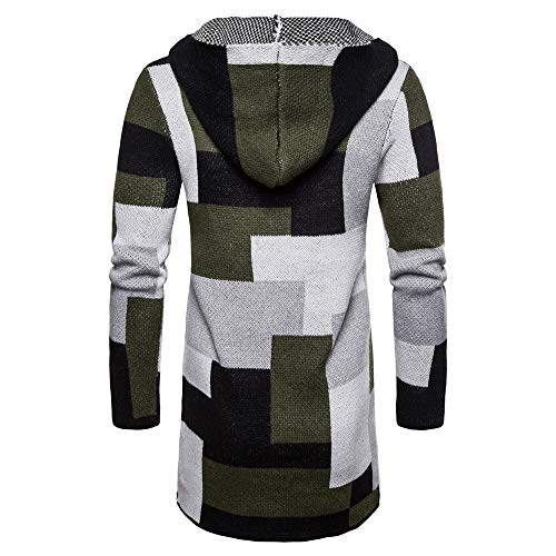 Sumen Men Hooded Knit Long Cardigan Fashion Color Block