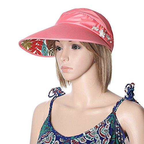 a02d937505b44 ... Señoras Floppy Cap Visor Parasol Casquette. Lovely Meaeo Mujeres  Plegado De Ala Ancha Uv-Prueba Sombrero Para El Sol De Verano
