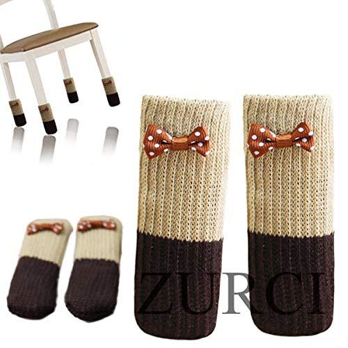 Bows Sock - Zurci 16PCS(4 Set) Cute Bow Chair Leg Socks Knit Table Floor Protector Furniture Feet Covers(16, Color 2)