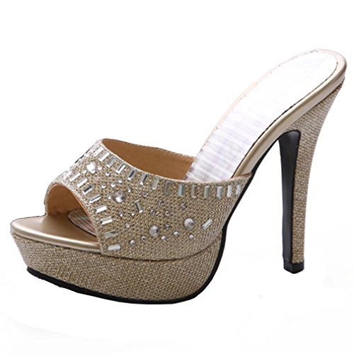 a9f18865991b36 AIYOUMEI Damen Glitzer Pantoletten mit Strass Blockabsatz High Heels Peep  Toe Slingback Sandalen F5sNhIEZZ3