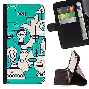 Momo Phone Case / Flip Funda de Cuero Case Cover - Arte Teal blanco Futurista - Samsung Galaxy S6 Edge Plus / S6 Edge+ G928