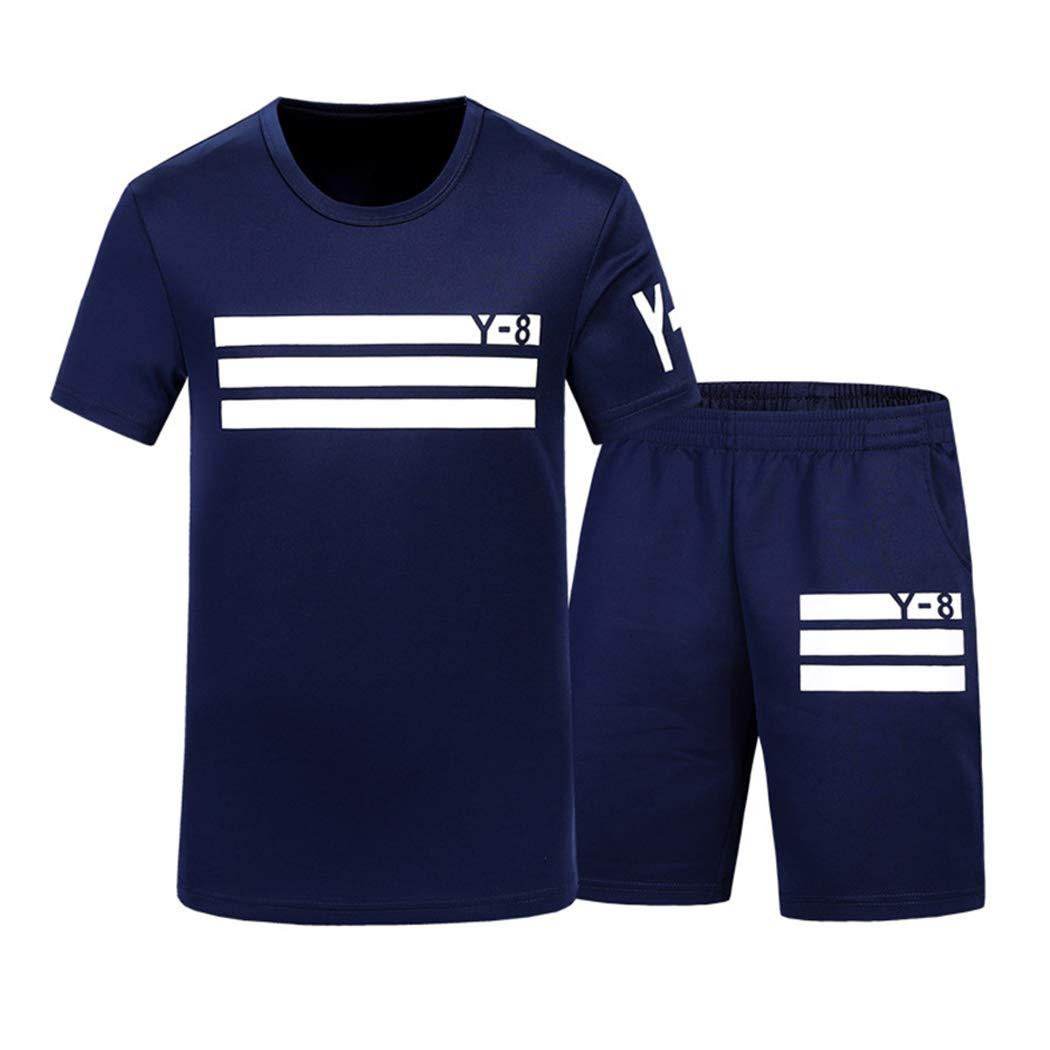 xzbailisha Men's Summer 2 Piece Outfits Letter Print Crewneck Short Sleeve T-Shirts & Shorts Tracksuit by xzbailisha