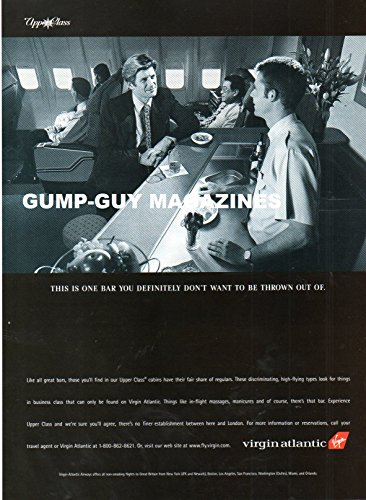 Magazine Print Ad From 1998 For VIRGIN ATLANTIC AIRLINES UPPER CLASS: THIS IS ONE BAR YOU DEFINITELY DON