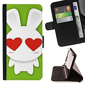 DEVIL CASE - FOR Sony Xperia Z2 D6502 - Cute Bunny Rabbit Love - Style PU Leather Case Wallet Flip Stand Flap Closure Cover