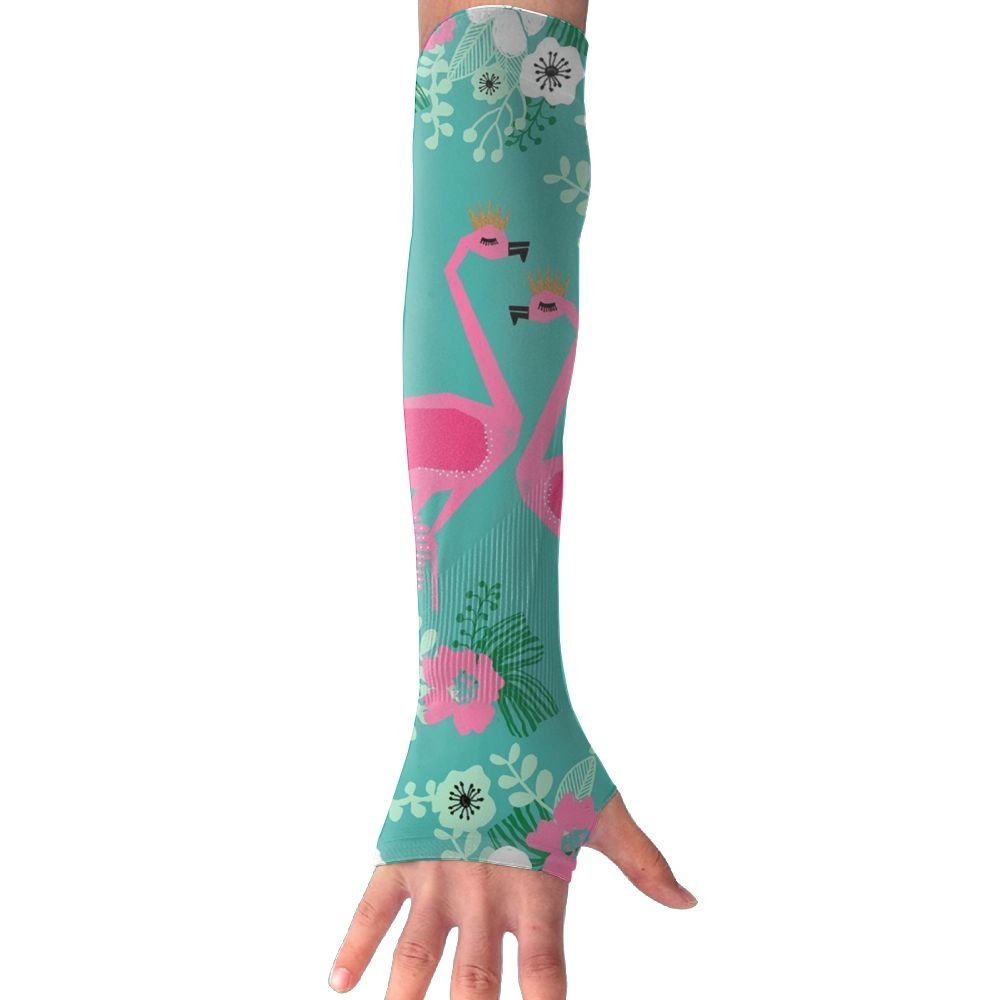 Huadduo Tropical Flamingo Florals Women's Super Long Fingerless Anti-uv Sun Protection Golf Driving Sports Arm Sun Sleeves Gloves
