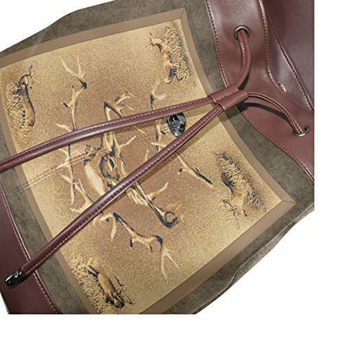Whitetail ryggsäck handväska mode PU-läder ryggsäck ledig ryggsäck för kvinnor