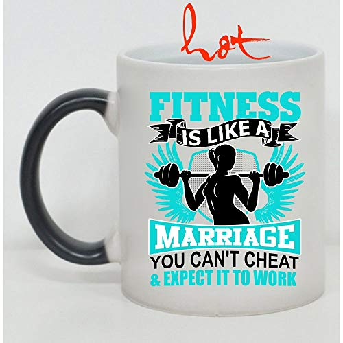 Christmas Mug, You Can't Cheat And Expect It To Work Cup, Fitness Is Like A Marriage Change color mug (Color Changing Mug 15oz) -