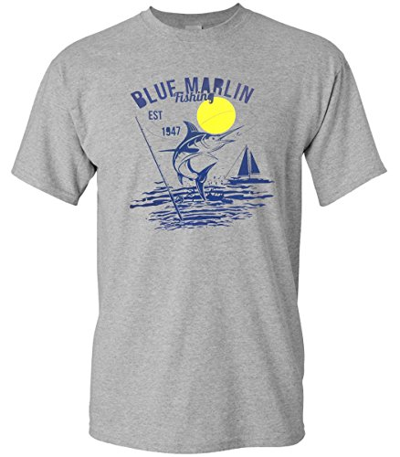 Blue Marlin Fishing Nautical Salt Water Sea Sport Men's Softstyle Tshirt (Xlarge, Gray) (Halloween En Estados Unidos)