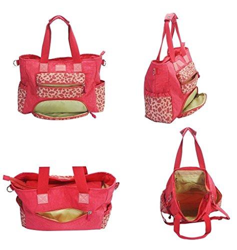 Yvon nelee Cadena de Color Rosa Leopardo Mamá bolso bolso bolso de hombro para bolso cambiador Baby Bolsa para pañales Mummy Bag para Baby Cuidado Nylon impermeable ligero Varios compartimentos