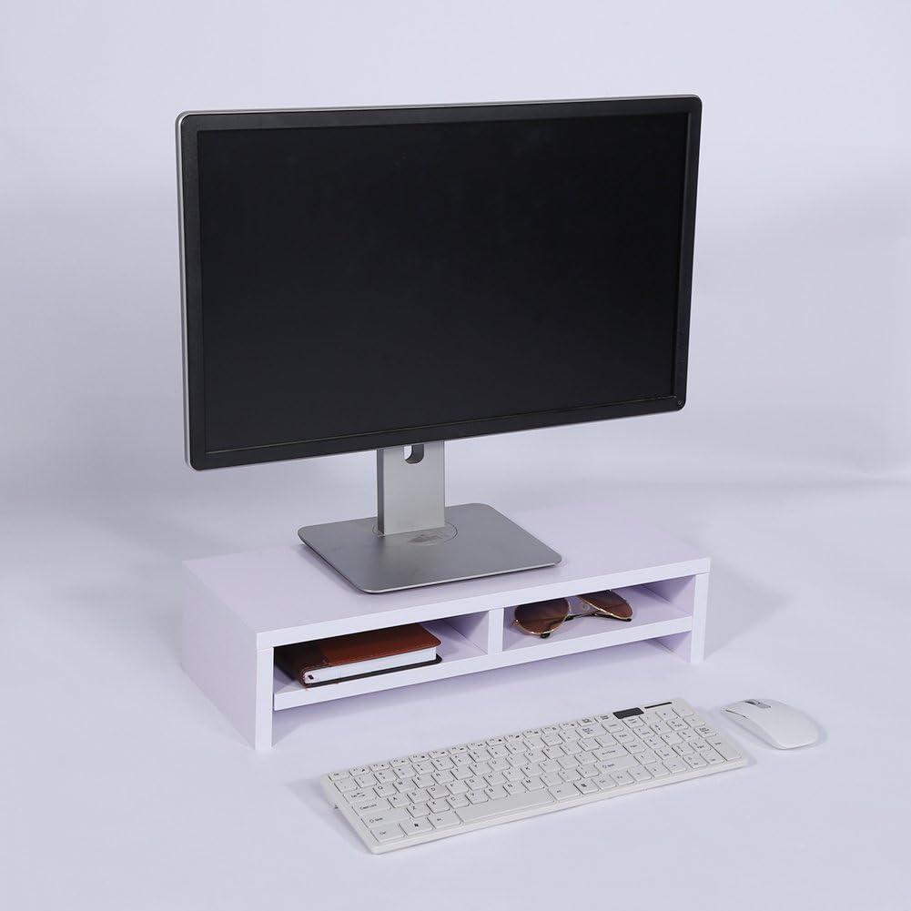 Yosoo Soporte de Madera Universal con Organizador para Monitor, TV, Portátil, Estante de Escritorio para Elevar la Pantalla de Sobremesa, 50 * 20 * 11,7cm (Blanco): Amazon.es: Electrónica
