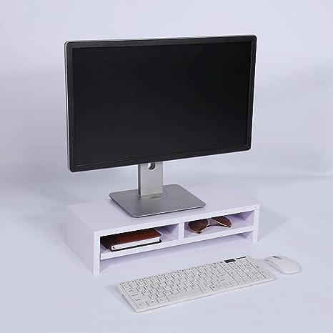 Soporte de Madera Universal con organizador para Monitor, TV, Portátil, Estante de Escritorio