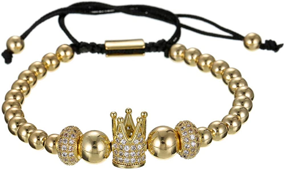 Imperial Crown King 18K Gold CZ Beads Bracelet Luxury Charm Fashion Bangle For Men Women With Marble Jewelry Box