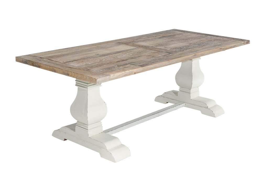 CLP Holz Esszimmer Tisch SEVERUS, Handgefertigt, Stabil, Shabby Chic  Landhaus Stil, Bis Zu 4 Größen Wählbar Antik Weiß, 260 X 100 X 78 Cm  Günstig Bestellen