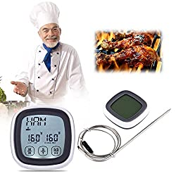 Time Countdown Timer Bbq Oven Touch Screen Cooking Thermometer Timer Stainless Steel Probe Digital Meat Countdown Time Drawers 10inch Brush Grilling Countdown Griddle Timer Marshmallow