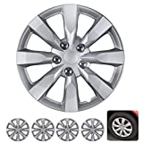 "BDK Wheel Guards - (4 Pack) Hubcaps for Car Accessories Wheel Covers Snap Clip-On Auto Tire Rim Replacement for 16 inch Wheels 16"" Hub Caps (Medium Spokes)"