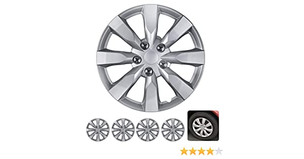 "BDK Wheel Guards – (4 Pack) Hubcaps for Car Accessories Wheel Covers Snap Clip-On Auto Tire Rim Replacement for 16 inch Wheels 16"" Hub Caps (Medium ..."