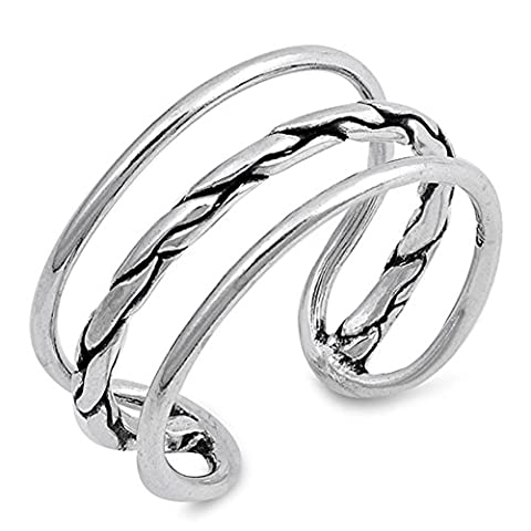 Open Pebble Triple Bar Flexible Ring New .925 Sterling Silver Band Size 5 (RNG17305-5) (Pebble Band Ring)