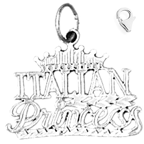 (Jewels Obsession Italian Princess Pendant | Sterling Silver 20mm Italian Princess with 7.5