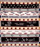 """School"" Theme Math Science Crayons Apples Afghan Throw Blanket 50"" x 60"""