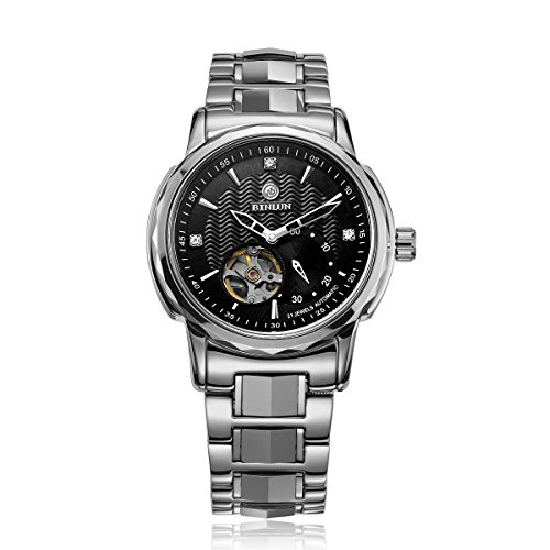 Mens Automatic Winding Black Dial - Binlun Large Face Skeleton Watch Self-Winding Water Resistant Automatic Watches(Black Dial, Sliver Band)