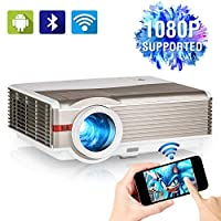 Bluetooth Wireless Projector Home Theater Full HD 1080P Support 5000lumen LED WiFi Smart Video Projectors LCD Display 200″ HDMI USB VGA Aux Audio Android OS for Mobile Phones DVD Games